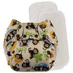 Blueberry Bamboo Pocket Diaper Monkey