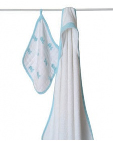 Aden + Anais Hooded Towel and Washcloth Set Hide and Sea